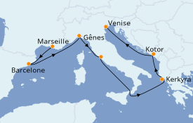 Itinerario de crucero Mediterráneo 8 días a bordo del MSC Magnifica