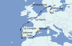 Itinerario de crucero Mediterráneo 12 días a bordo del Costa Diadema