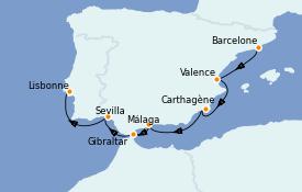 Itinerario de crucero Mediterráneo 9 días a bordo del Azamara Quest