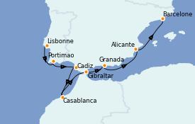 Itinerario de crucero Mediterráneo 8 días a bordo del Seven Seas Voyager
