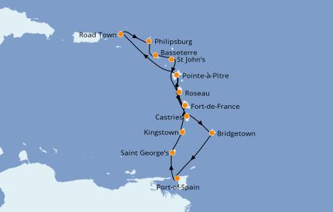 Itinerario del crucero Caribe del Este 14 días a bordo del MSC Seaview