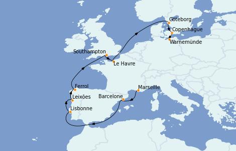 Itinerario del crucero Mediterráneo 12 días a bordo del MSC Poesia