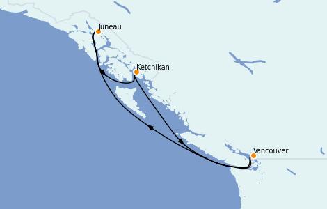 Itinerario del crucero Alaska 5 días a bordo del Grand Princess