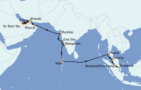 Itinerario del crucero Dubái 21 días a bordo del Seven Seas Explorer