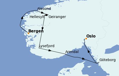 Itinerario del crucero Fiordos y Noruega 7 días a bordo del Le Dumont d'Urville