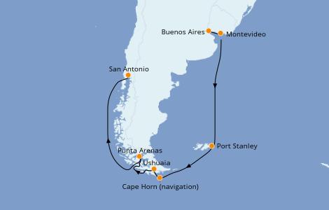 Itinerario del crucero Suramérica 16 días a bordo del Sapphire Princess