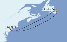 Itinerario de crucero Canadá 5 días a bordo del Carnival Magic