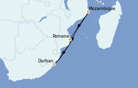 Itinerario de crucero África 8 días a bordo del MSC Lirica