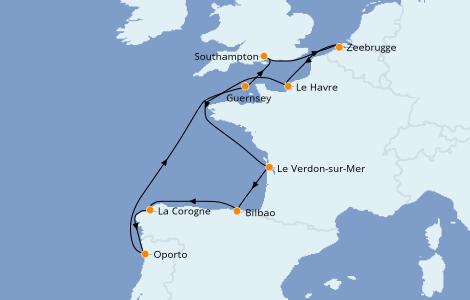 Itinerario del crucero Islas Británicas 10 días a bordo del Norwegian Star