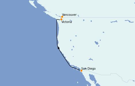Itinerario del crucero Alaska 4 días a bordo del  ms Nieuw Amsterdam