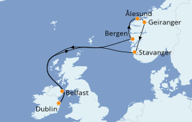 Itinerario de crucero Fiordos y Noruega 9 días a bordo del Celebrity Reflection