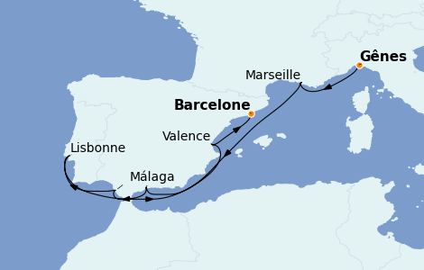 Itinerario del crucero Mediterráneo 8 días a bordo del MSC Fantasia