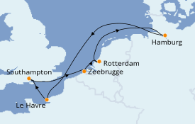 Itinerario de crucero Mar Báltico 8 días a bordo del MSC Preziosa