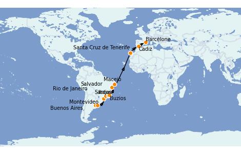 Itinerario del crucero Trasatlántico y Grande Viaje 2022 20 días a bordo del MSC Sinfonia