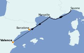 Itinerario de crucero Mediterráneo 5 días a bordo del Costa Toscana