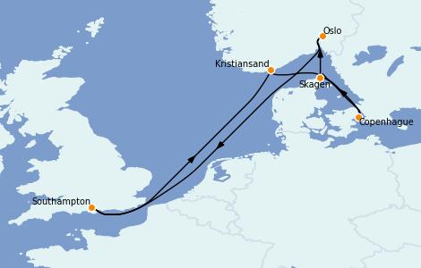 Itinerario del crucero Mar Báltico 7 días a bordo del Sky Princess