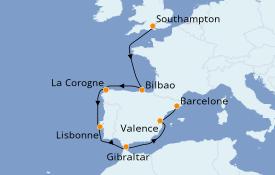 Itinerario de crucero Mediterráneo 10 días a bordo del Celebrity Silhouette