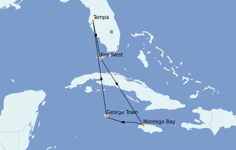 Itinerario del crucero Caribe del Oeste 6 días a bordo del Carnival Paradise
