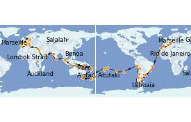 Itinerario de crucero Australia 2022 130 días a bordo del MSC Poesia