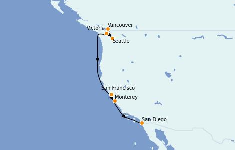 Itinerario del crucero California 11 días a bordo del Silver Wind