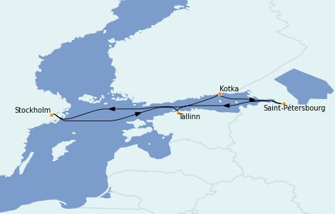 Itinerario del crucero Mar Báltico 7 días a bordo del Costa Favolosa