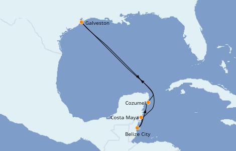Itinerario del crucero Caribe del Oeste 6 días a bordo del Carnival Vista