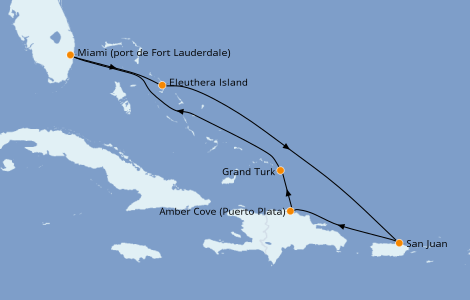 Itinerario del crucero Caribe del Este 7 días a bordo del Sky Princess