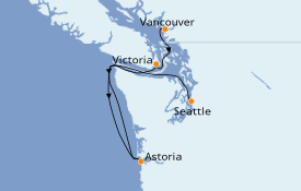 Itinerario de crucero Alaska 5 días a bordo del ms Eurodam
