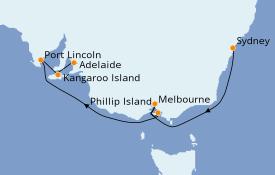 Itinerario de crucero Australia 2020 8 días a bordo del Sapphire Princess