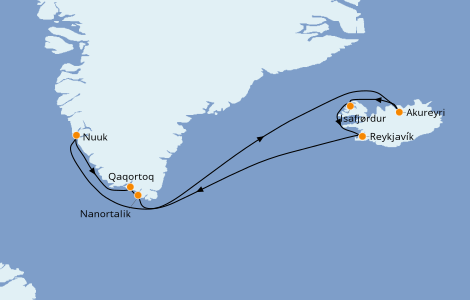 Itinerario del crucero Exploración polar 11 días a bordo del Norwegian Star