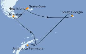Itinerario de crucero Exploración polar 16 días a bordo del Le Lyrial