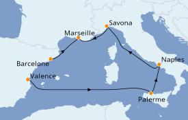 Itinerario de crucero Mediterráneo 7 días a bordo del Costa Fortuna