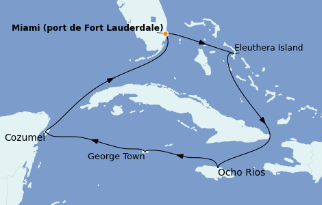 Itinerario del crucero Caribe del Oeste 7 días a bordo del Island Princess