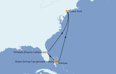 Itinerario del crucero Bahamas 7 días a bordo del Norwegian Getaway