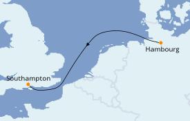 Itinerario de crucero Islas Británicas 4 días a bordo del MSC Grandiosa
