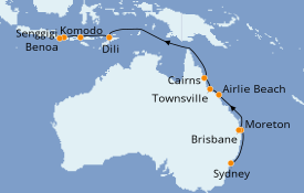 Itinerario de crucero Australia 2020 17 días a bordo del Seabourn Encore