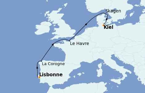 Itinerario del crucero Mediterráneo 8 días a bordo del Costa Diadema