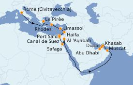 Itinerario de crucero Mar Rojo 21 días a bordo del Norwegian Spirit