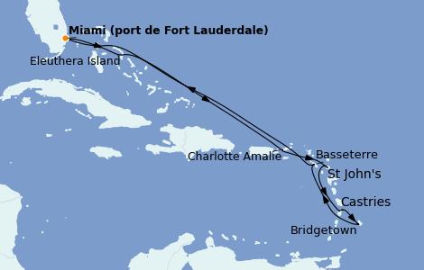 Itinerario del crucero Caribe del Este 10 días a bordo del Island Princess