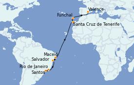 Itinerario de crucero Trasatlántico y Grande Viaje 2022 16 días a bordo del MSC Seaside
