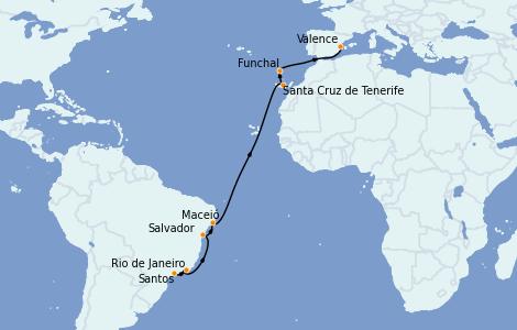 Itinerario del crucero Trasatlántico y Grande Viaje 2022 15 días a bordo del MSC Seaside