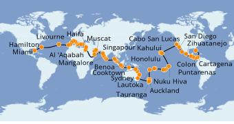 Itinerario de crucero Vuelta al mundo 2020 132 días a bordo del Seven Seas Mariner