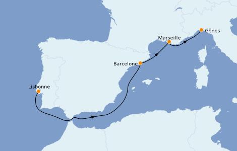 Itinerario del crucero Mediterráneo 4 días a bordo del MSC Virtuosa