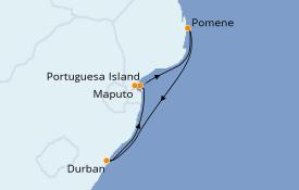 Itinerario de crucero África 7 días a bordo del MSC Musica