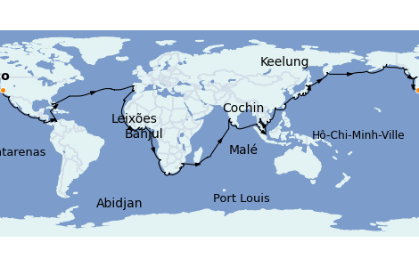 Itinerario del crucero Vuelta al mundo 2022 120 días a bordo del Seven Seas Mariner