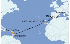 Itinerario de crucero Trasatlántico y Grande Viaje 2022 13 días a bordo del MSC Seaview