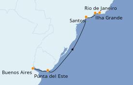 Itinerario de crucero Suramérica 7 días a bordo del Norwegian Star