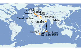 Itinerario de crucero Trasatlántico y Grande Viaje 2022 28 días a bordo del MSC Lirica