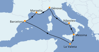 Itinerario de crucero Mediterráneo 8 días a bordo del MSC Bellissima