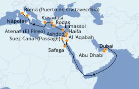 Itinerario de crucero Mar Rojo 23 días a bordo del Norwegian Dawn